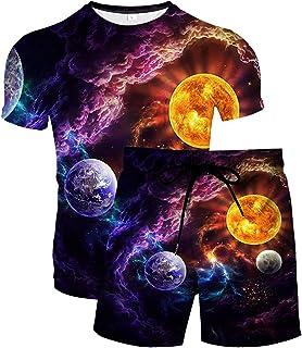 URVIP Herren Strandshorts T-Shirt 2-Teiliges Set 3D Sternenhimmel Gedruckt Lustiges Kurzarm Sommer Beiläufige Herren T-Shirt Tops Tees Badeshort Sporthose Sportswear