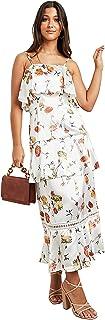 فستان ماكسي بطبقات ونمط مطبع بالزهور مع اربطة للنساء
