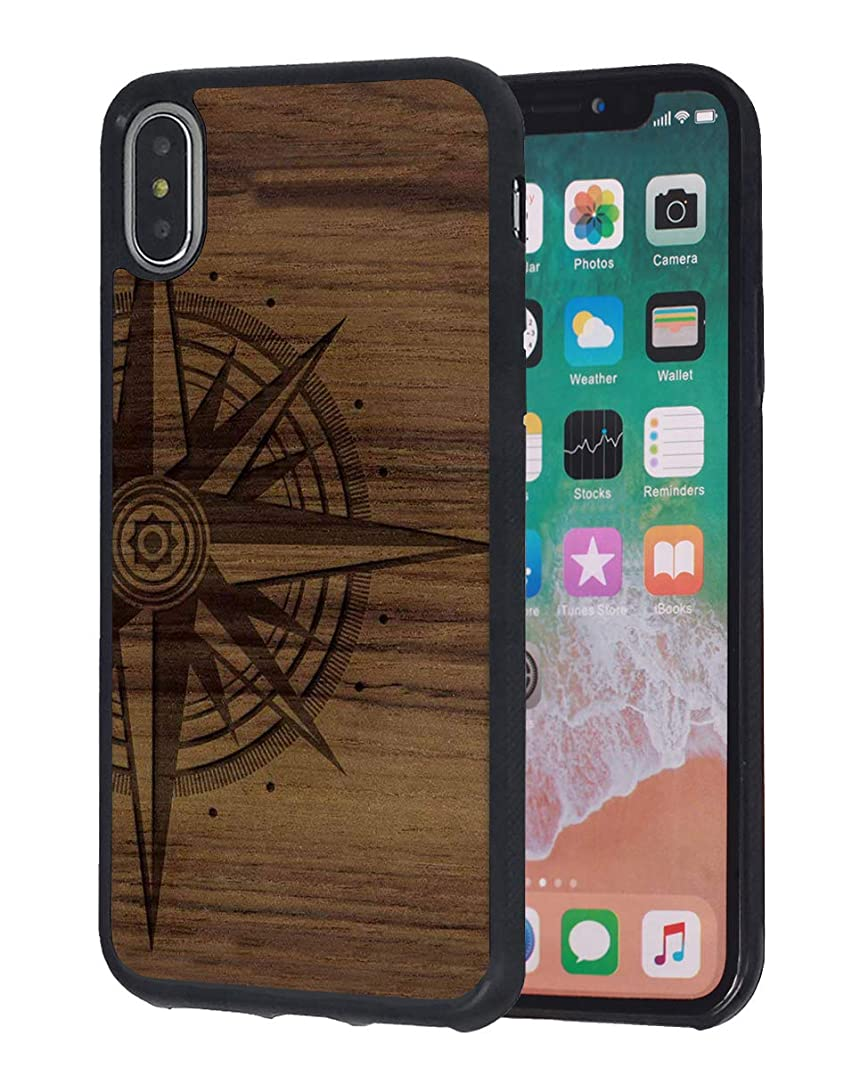 iPhone Xs Max Case,Wood Compass Design Slim Impact Resistant Shock-Absorption Rubber Protective Case Cover for Apple iPhone Xs Max (2018) 6.5 inch