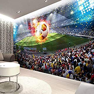 Wall Mural - 3D Mural Photo Wallpaper Stereoscopic Football Field Soccer Large Wallpaper Wall Painting Bedroom Living Room Home Decor-350x245cm(Customizable Size)