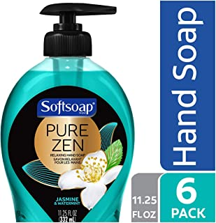 Softsoap Pure Zen Hand Soap Pump, Jasmine & Watermint, 11.25 Ounce (Pack of 6)