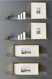 Blingsoul 4Pcs Clear Acrylic Shelf - 15 Inches Floating Shelves Wall Mount Decor, Bathroom Shelf Sets, Makeup Organizer, Storage Shelves, Room Decor, Small Bookshelf, Shower Caddy