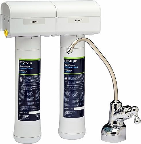 EcoPure ECOP20 Système de Filtration à Deux Étapes Filtres à Eau à Installer sous L'évier, Blanc, 2 Unité (Lot de 1)