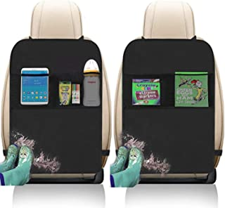 Kick Mats with Organizer - 2 Pack Backseat Protector Seat Covers for Your Car, SUV, Minivan or Truck Seats - Vehicle Back Seat Kids Safety Accessories - Universal Fit Automotive Interior Protectors