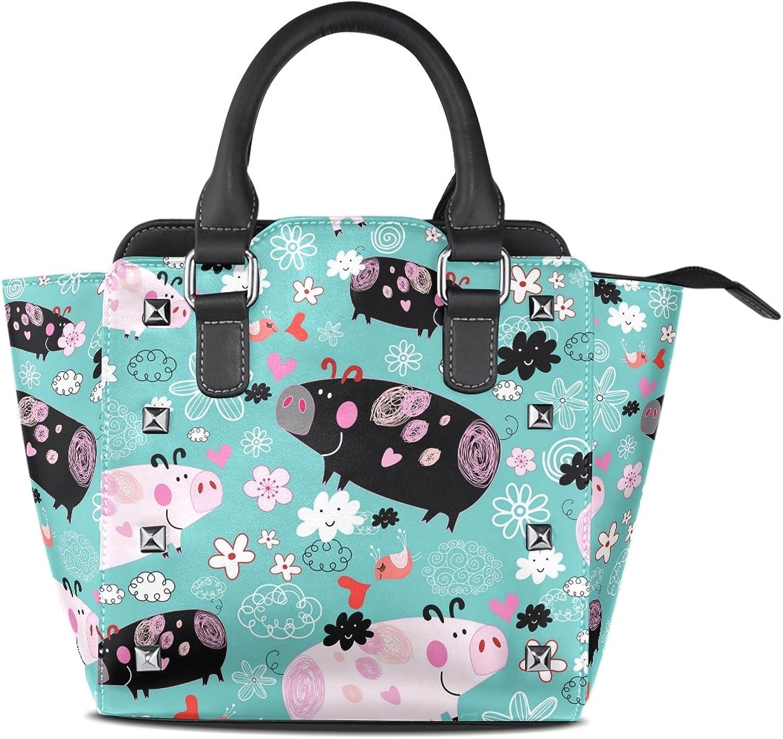 My Little Nest Women's Top Handle Satchel Handbag Floral Pigs Ladies PU Leather Shoulder Bag Crossbody Bag