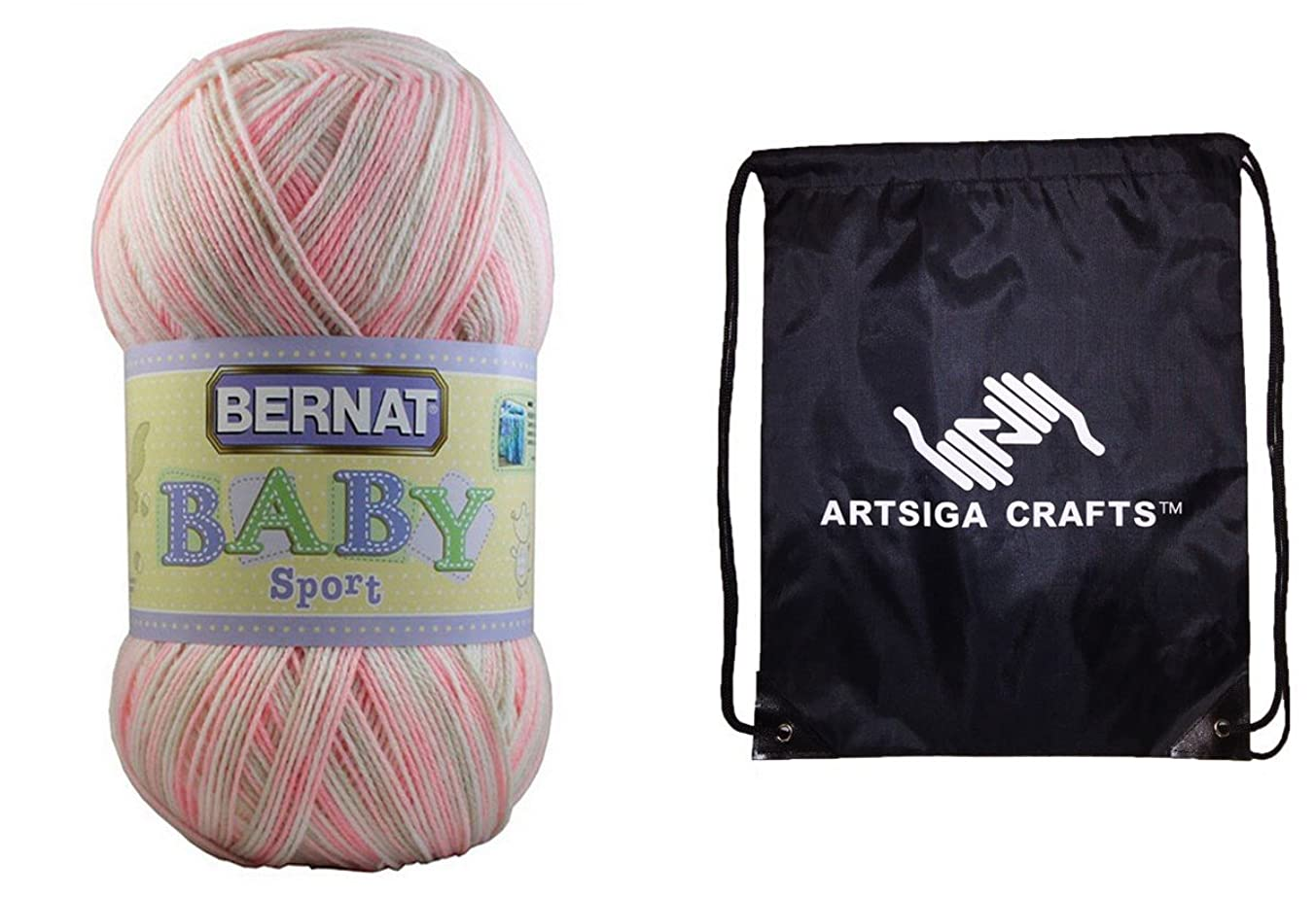 Bernat Baby Sport Big Ball Yarn (1-Pack) Ombres Blossom 163124-24414 Bundle with 1 Artsiga Crafts Project Bag