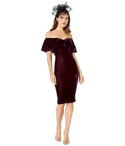Unique Vintage Velvet Draped Off Shoulder Sophia Wiggle Dress (Eggplant) Women