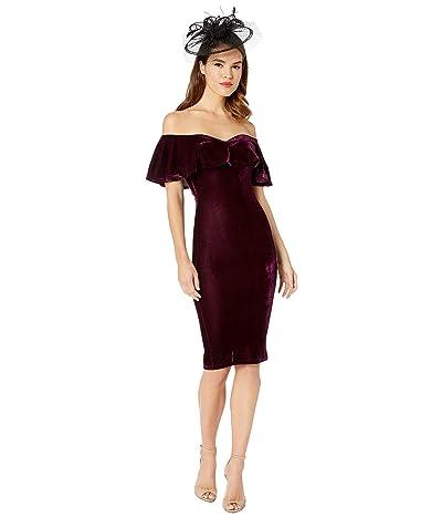 Unique Vintage Velvet Draped Off Shoulder Sophia Wiggle Dress (Eggplant) Women