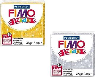 Staedtler 8030 AMZ 02 - Pâte à Modeler Fimo Kids Glitter - 2 Blocs - 42 g - Jaune/argenté