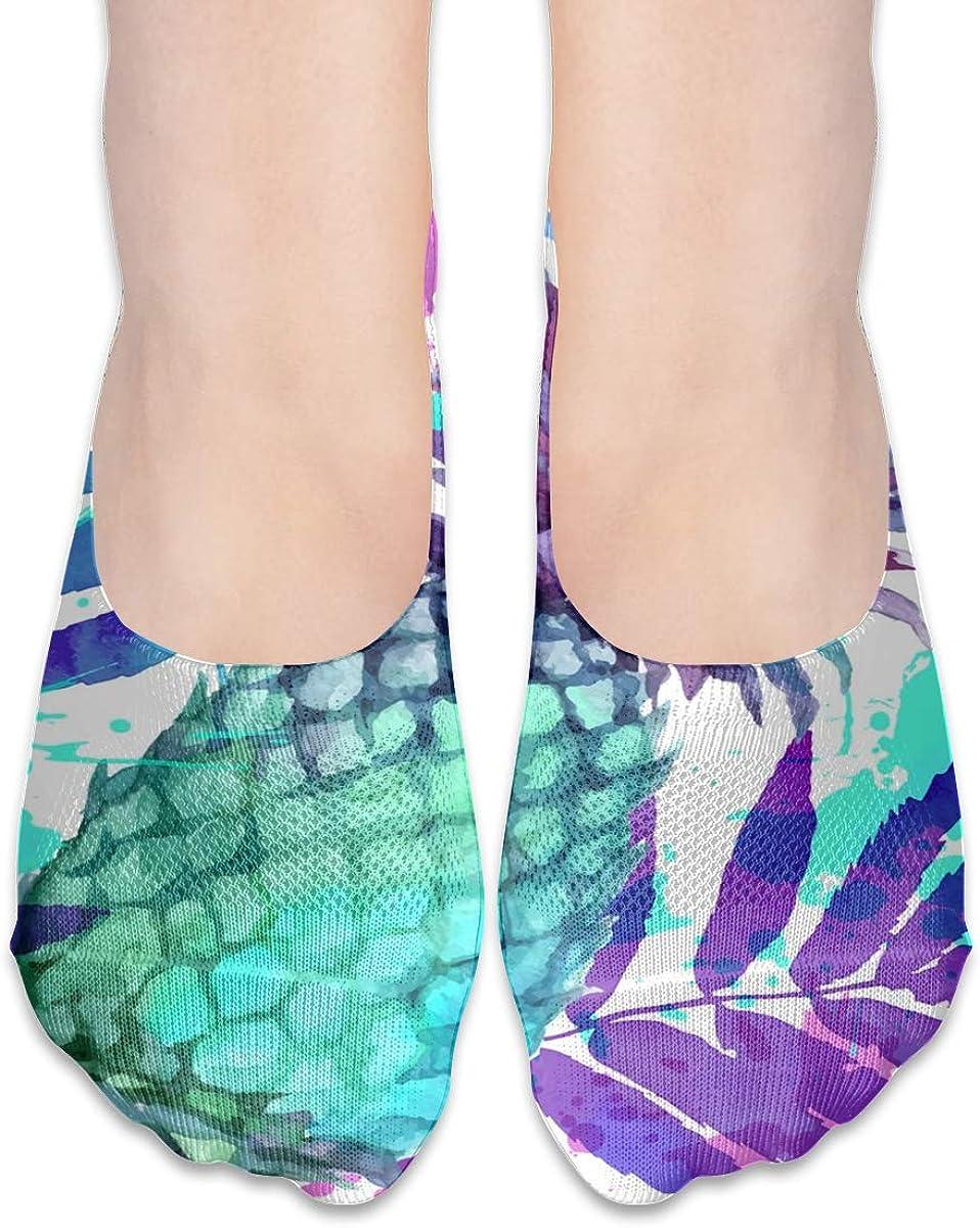 No Show Socks Women Men For Watercolor Pineapples Leaves Flats Cotton Ultra Low Cut Liner Socks Non Slip