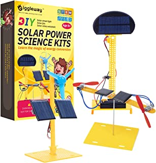 Giggleway Solar Power Science Kits for Kids, DIY Circuit Building Kids Science Experiment Kits, Educational STEM Toys for Boys and Girls- Solar Fan, Solar Street Light, Solar Rotary Windmill