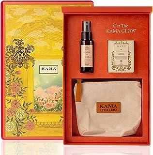 Kama Ayurveda Overnight Glow Gift Box (Kumkumadi Tailam Face Serum + Pure Rose Water + Travel Pouch)
