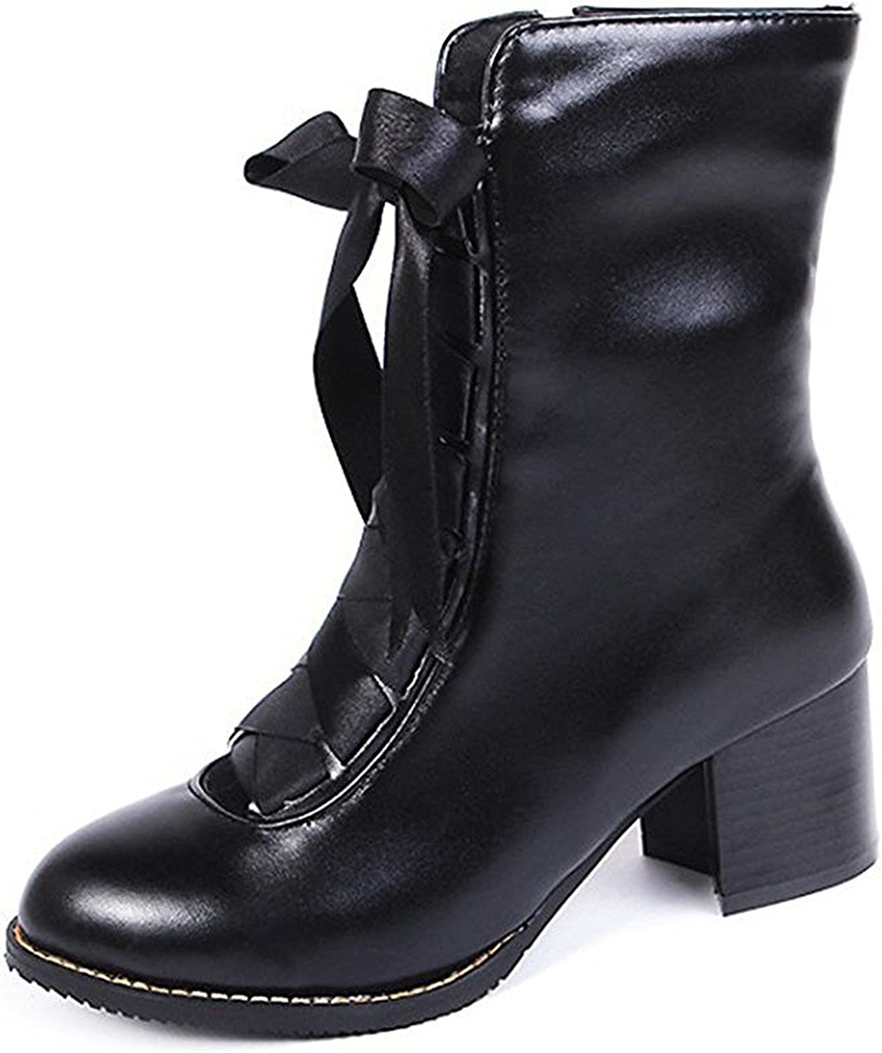 Colnsky Concise Mid-Calf Short Platform Heel CN Size 34-46 Plus Size Motorcycle Boots