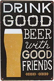 ERLOOD Drink Good Beer Distressed Retro Vintage Tin Sign 12 x 8