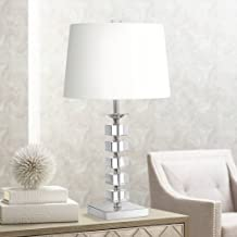 Modern Table Lamp Crystal Glass Stacked Cubes White Fabric Tapered Drum Shade for Living Room Family Bedside - Vienna Full Spectrum
