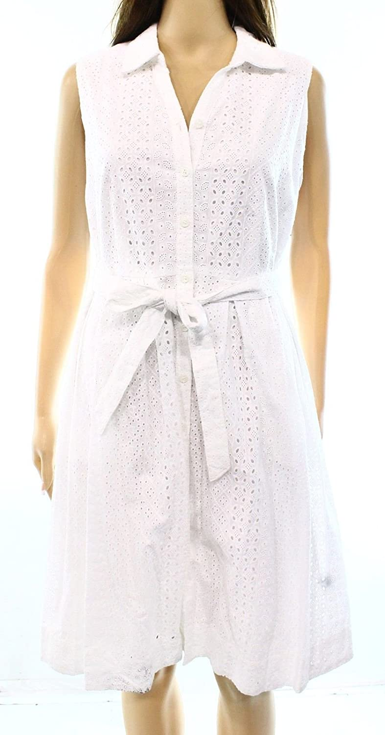 Charter Club Womens Petite Eyelet Pleated Dress White 12P