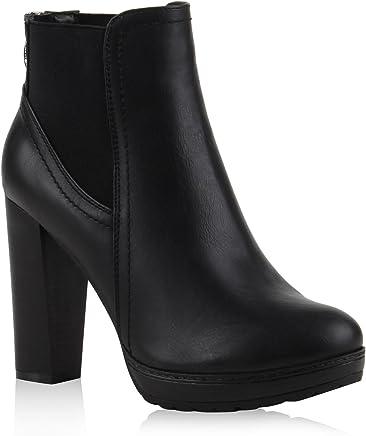 Stiefelparadies Damen Stiefeletten High Heels mit Blockabsatz Profilsohle Flandell