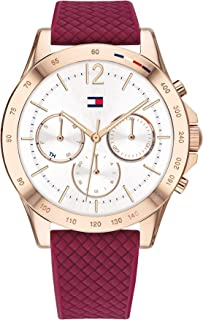 Tommy Hilfiger Women'S White Dial Burgundy Silicone Watch - 1782200