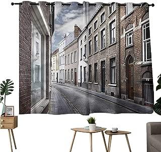 Jaydevn Decoration Darkening Curtains Grommets Curtain for Kitchen Window Wanderlust,Bruges Belgium Streets Curtains/Panels/Drapes W108 x L72