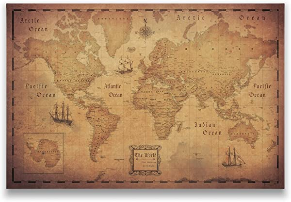 Conquest Maps World Travel Map Golden Aged Style Push Pin Travel Map Cork Board Track Your Travels Pinable Canvas Map With Cork Backing Internal Framed 48 X 32 Inches Single Panel