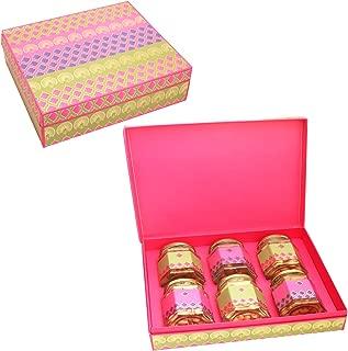 Ghasitaram Gifts Valentine Gifts Pink Green Assorted Dryfruit, Chocolates and Nutties 6 Jars Box
