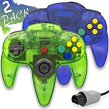 Wired Controller for Nintendo 64 N64 Console, Upgraded Joystick Classic Video Game Gamepad(Clear Green and Clear Blue,Pack of 2)