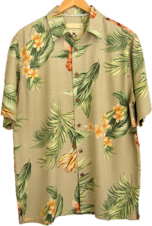 Island Republic Men's 100% Silk Camp Shirt Aloha Casual Button Down