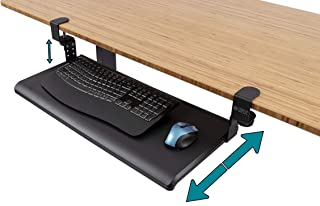 "Stand Up Desk Store Large Clamp-On Retractable Adjustable Keyboard Tray/Under Desk Keyboard Tray | Improve Comfort While Increasing Usable Desk Space (27.5"" W x 12.25"" D) (Black) (Large)"