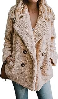 Women's Winter Warm Faux Fur Coat Long Sleelve Cardigan Boyfriend Shearling Fuzzy Jacket with Pockets
