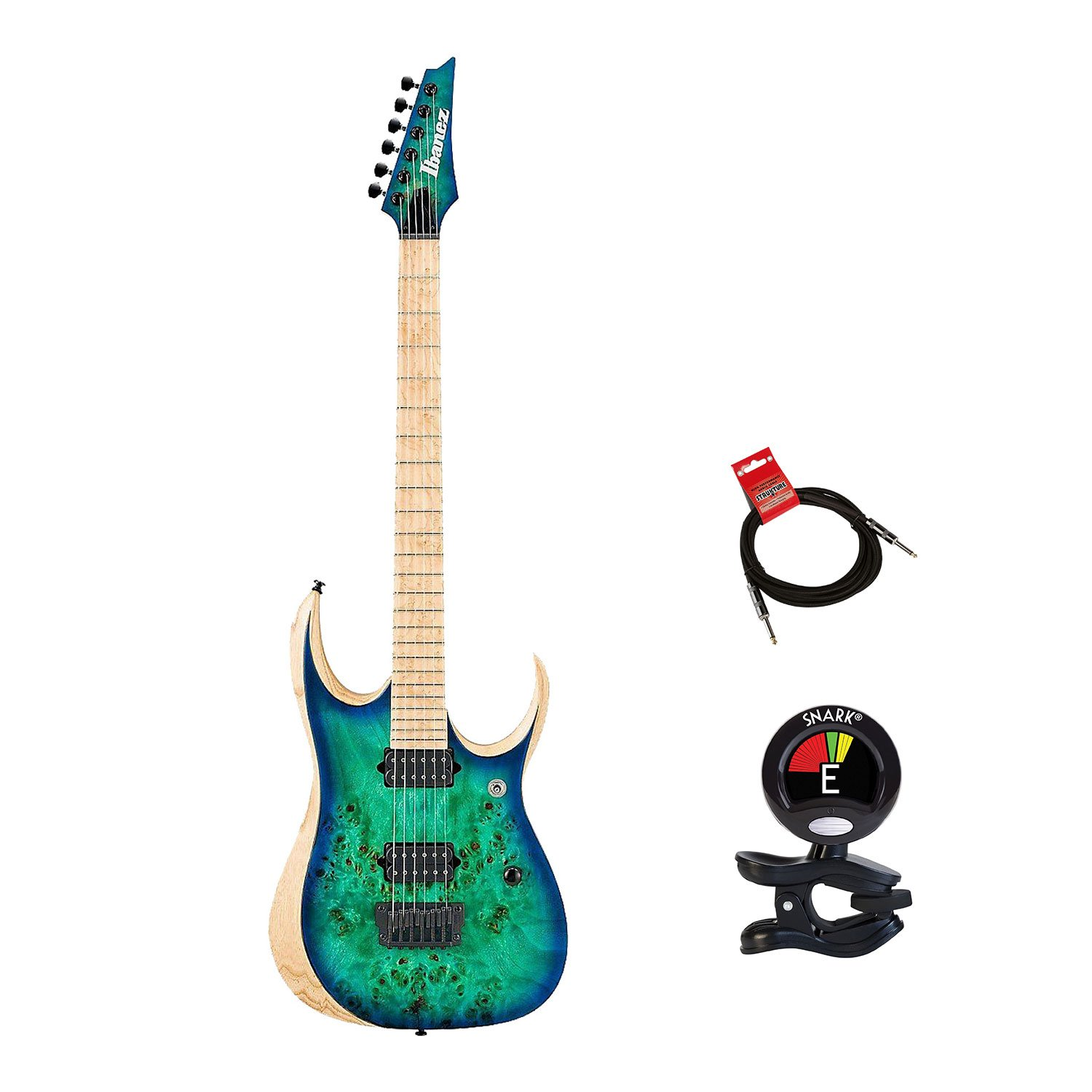 Cheap Ibanez RGDIX6MPB-SBB Iron Label RGD Series Electric Guitar Bundle in Surreal Blue Burst With Guitas Clip On Tuner and Instrument Cable - Guitars Package Black Friday & Cyber Monday 2019