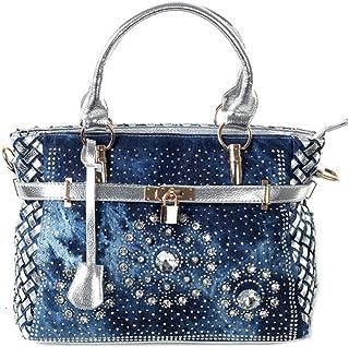 Fashion Design Handtasche mit Diamant-Stickerei, Denim-Griff