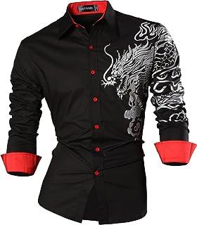 cd8c6485 Sportrendy Men Casual Slim Dragon Tattoo Long Sleeve Button Down Dress Shirt  JZS041