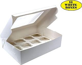 Bakery Box with Cupcake Insert Window. Pack of 13 White Cardboard 12.25