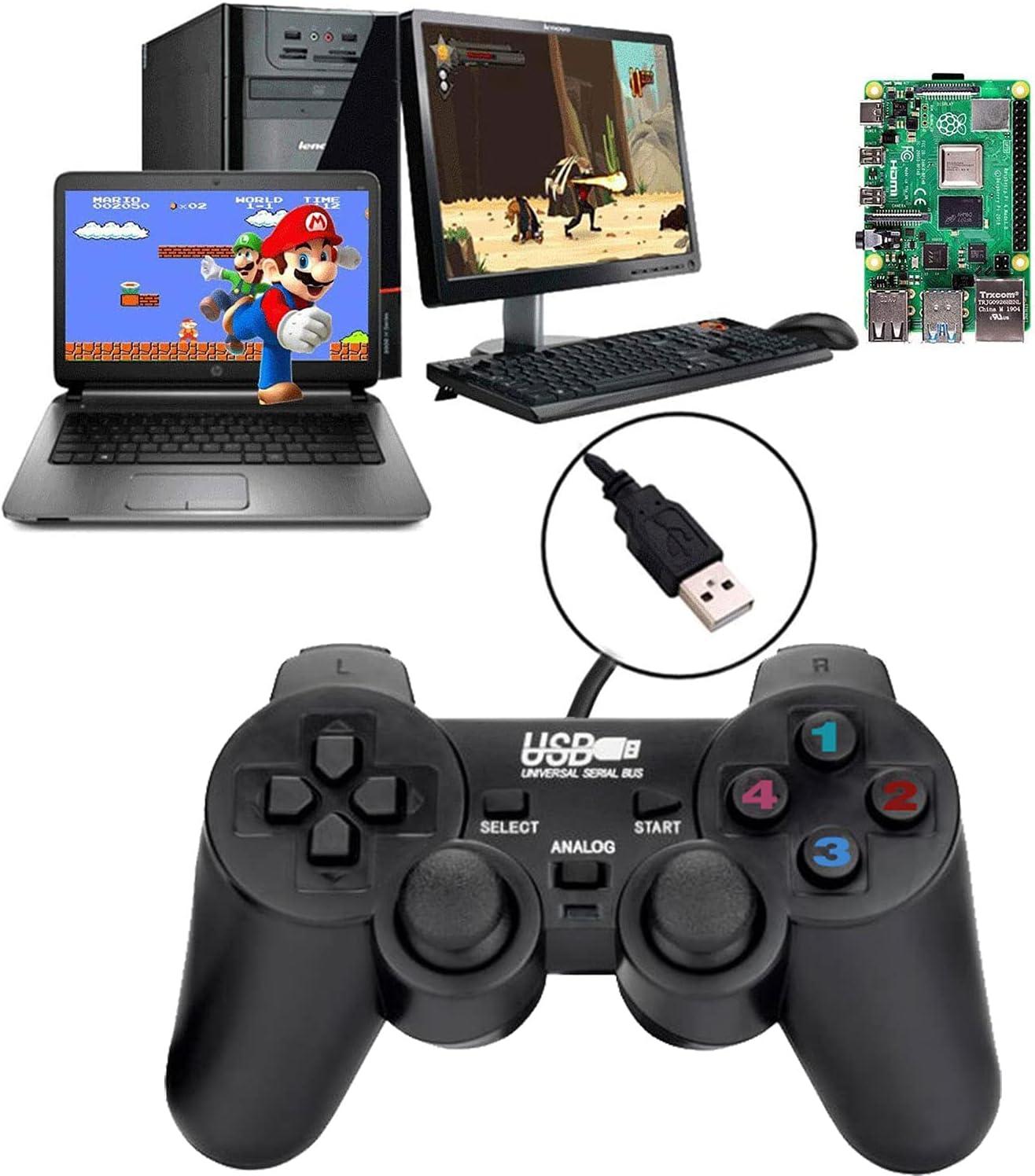 Controlador de Juego con Cable USB para Windows PC/Raspberry Pi Mando de Juegos Remoto Plug and Play Joypad Joystick de Juego de Doble Choque para Roblox/Steam/RetroPie/RecalBox
