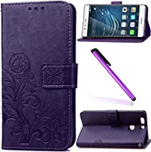 Huawei P9 Cover Huawei P9 Case EMAXELER Stylish Wallet Embossing Cover Kickstand Flip Credit Cards Slot Cash Pockets PU Leather Flip Wallet Cover with Stand For Huawei P9 Clover Purple