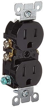 Leviton T5320-E 15 Amp 125V Tamper Resistant, Duplex Receptacle, Residential Grade, Grounding, 10-Pack, Black