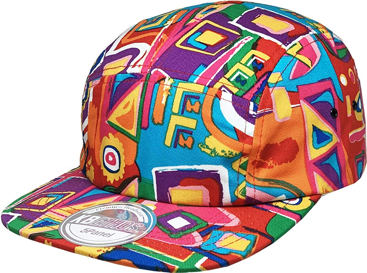 5 Panel Camper Style Aztec Fresh Prince Baseball Cap Adjustable Flat Bill Pipe Hat