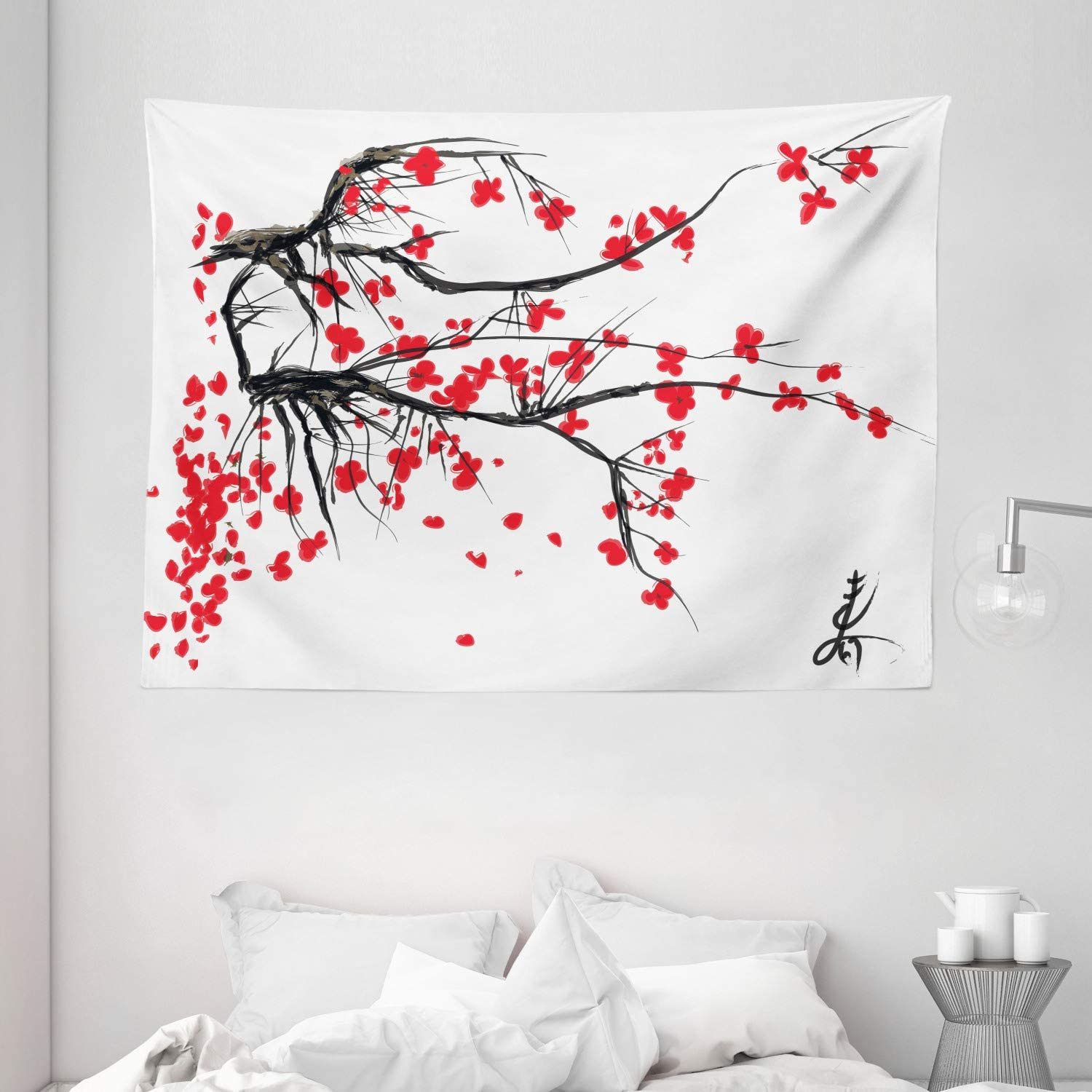 Amazon Com Ambesonne Nature Tapestry Sakura Blossom Japanese Cherry Tree Garden Summertime Vintage Cultural Print Wide Wall Hanging For Bedroom Living Room Dorm 80 X 60 Grey Vermilion Home Kitchen