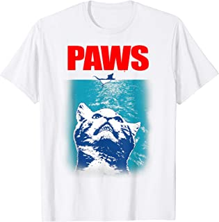 Funny Tee Paws Parody Tees for Cat Kitten Shark & Cat Lovers T-Shirt