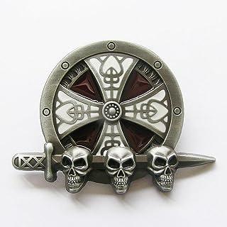 teschio Fibbia per cintura universale Hells-Design motivo decorativo