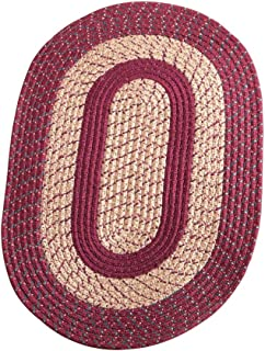 Collections Etc Traditional Oval Braided Accent Rug for Light-to-High Traffic Areas, Great for Any Room in Home, Burgundy, 20