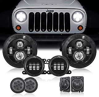 7'' Black LED Headlights w/ 4 ''Cree LED Fog Lights & Yellow LED Front Replacement Turn Signal Light & Fender Side Marker Light for 2014-2018 Jeep Wrangler JK JKU-Smoke