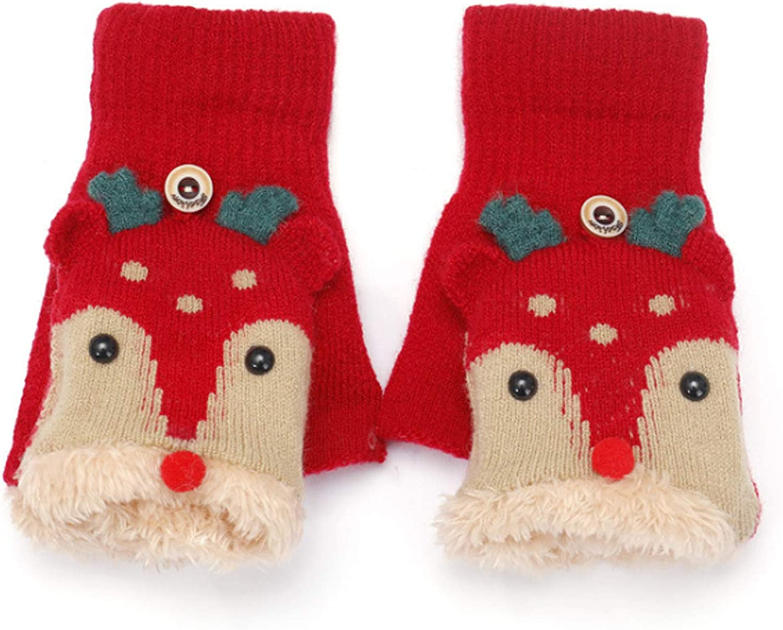 Girls Winter Gloves with Convertible Flip Top Mittens Cover Cute Reindeer Plush Fingerless Gloves for Kids Teens