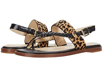Cole Haan G.OS Anica Thong Sandal (Black Leather/Mini Cheetah Hair On/Gold) Women