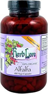 Alfalfa Capsules - All Natural 100% Alfalfa Powder - 400 Capsules - 1060 mg per dose - Herb Lore