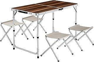 TecTake Mesa Maleta 4 taburetes Camping Plegable portátil jardín Picnic Aluminio | plegada (Largo x Ancho x Alto) 62x62x6...