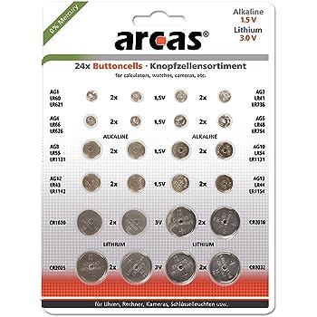 Arcas 12752400Alkaline e a bottone al litio assortimento, 24pezzi cromo