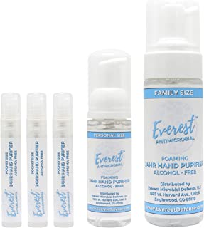 Everest Alcohol Free Hand Sanitizer | Kills 99.99% Of Germs | Stays Effective Throughout Hand Washings For 24 Hours Of Lasting Protection | Rich, Moisturizing Foam, Fragrance Free | Family Value Pack