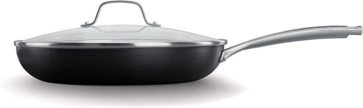 Calphalon Classic Oil-Infused Ceramic PTFE and PFOA Free Cookware, 12-inch Fry Pan and Cover, Dark Gray
