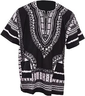 Black Traditional African Print Unisex Dashiki Shirt Small to 7XL Plus Size